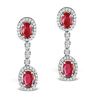Ruby 0.55CT And Diamond 9K White Gold Earrings