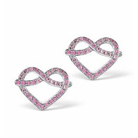 Vivara Collection Pink Sapphire 9K White Gold Heart Earrings H4575y