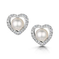 Stellato Collection Pearl and Diamond Heart Earrings in 9K White Gold