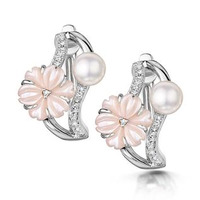 5mm Pearl Shell with 0.10ct Diamond Stellato Earrings 9K White Gold