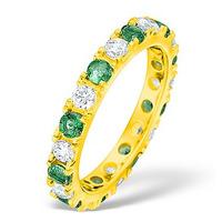 Poppy 18K Gold Emerald 0.70ct and G/VS 1CT Diamond Eternity Ring