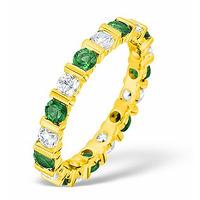 Hannah 18K Gold Emerald 0.70ct and G/VS 2CT Diamond Eternity Ring