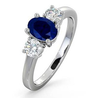 Sapphire 0.80ct And Diamond 0.50ct Platinum Ring