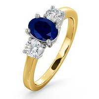 Sapphire 0.80ct And Diamond 0.50ct 18K Gold Ring