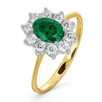 Emerald 0.70ct And Diamond 0.50ct 18K Gold Ring