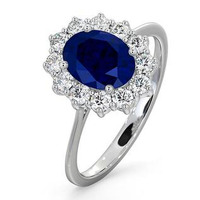 Sapphire 1.55ct And Diamond 0.50ct 18K White Gold Ring