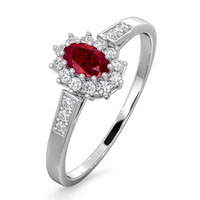 Ruby 5 x 3mm And Diamond 18K White Gold Ring