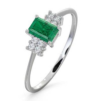 Emerald 6 x 4mm And Diamond 9K White Gold Ring