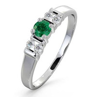 Emerald 3.75mm And Diamond 18K White Gold Ring