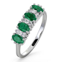 Emerald 0.94ct And Diamond 18K White Gold Ring