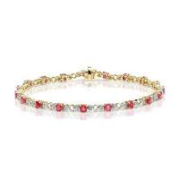 9K Gold Diamond and Ruby Claw Set Link Bracelet