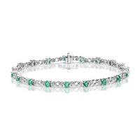 9K White Gold Diamond and Emerald Claw Set Link Bracelet