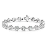 Diamond Halo Bracelet  6.78ct in 18K White Gold - Asteria Collection