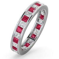 Eternity Ring Lauren Diamonds G/VS and Ruby 2.25CT - 18K White Gold