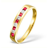 18K Gold H/Si Diamond and Ruby Half Eternity Ring