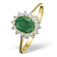 Emerald 0.83ct And Diamond 9K Gold Ring