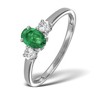 Emerald 6 x 4mm And Diamond 18K White Gold Ring