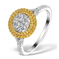 Halo Engagement Ring Arianna with 1ct of Yellow Diamonds in 18KW Gold