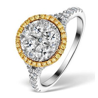 Halo Engagement Ring Alessia 1.50ct Yellow Diamond in 18K White Gold