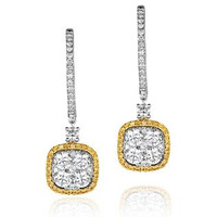 18K White Gold ANGELINA 3ct Diamond and Yellow Diamond HALO Earrings