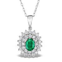 Emerald 0.75CT And Diamond 9K White Gold Pendant