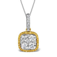 18K White Gold ANGELINA Diamond and Yellow Diamond HALO Pendant