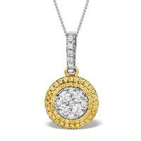 18K White Gold ARIANNA Diamond and Yellow Diamond HALO Pendant
