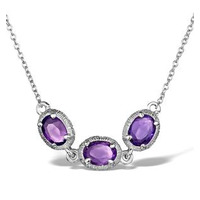 Amethyst Sterling Silver Necklace - UP3235