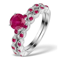 Stacking Ruby Ring Set in Sterling Silver - UT33221