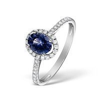 Sapphire 0.80ct And Diamond 18K White Gold Ring