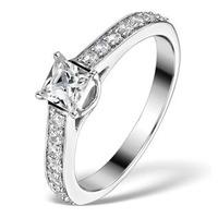 Sidestone Engagement Ring Seraphina 0.95ct Vs2 Princess Diamond 18KW