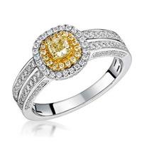 Shaya Yellow Diamond Double Halo Engagement Ring 0.65ct 18K White Gold