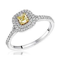 Natasha Yellow Diamond Halo Engagement Ring 0.53ct 18K White Gold