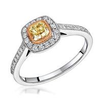 Leila Yellow Diamond Halo Milgrain Engagement Ring 1.46ct Platinum
