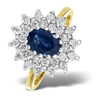 Sapphire 7 x 5mm And Diamond 9K Gold Ring