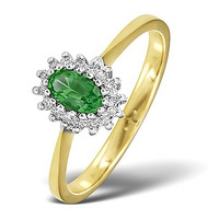 Emerald 5 x 3mm And Diamond 9K Gold Ring