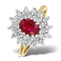 Ruby 7 x 5mm And Diamond 9K Gold Ring