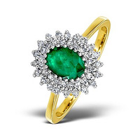 Emerald 7 x 5mm And Diamond 18K Gold Ring