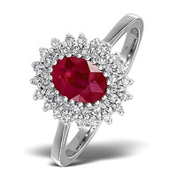 Ruby 7 x 5mm And Diamond 18K White Gold Ring