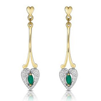 Emerald 5 x 3mm And Diamond 9K Yellow Gold Earrings