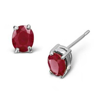 Ruby 0.73ct Stud Earrings in 9K White Gold