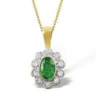 Emerald 6 x 4mm And Diamond 9K Yellow Gold Pendant