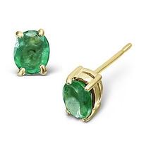 Emerald 5 x 4mm 18K Yellow Gold Earrings