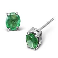 Emerald 5 x 4mm 18K White Gold Earrings