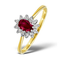 Ruby 6 x 4mm And Diamond 18K Gold Ring