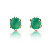 Emerald 3 x 3mm 9K Yellow Gold Earrings