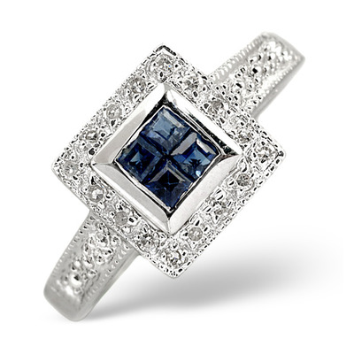 Sapphire 0.26ct And Diamond 9K White Gold Ring