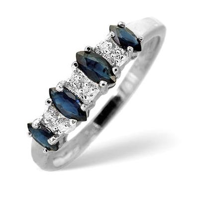 Sapphire 0.76ct And Diamond 9K White Gold Ring