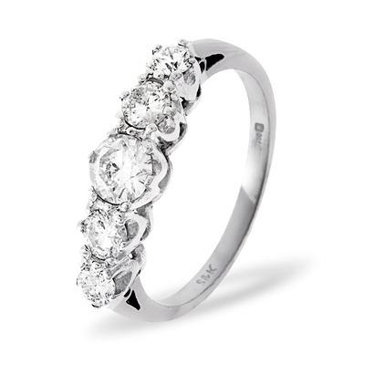 Grace 18K White Gold 5 Stone Diamond Eternity Ring 0.33CT