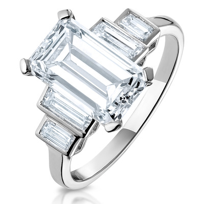 Platinum Diamond Ring 3.66ct Emerald Cut Art Deco Vintage Style G/VS1